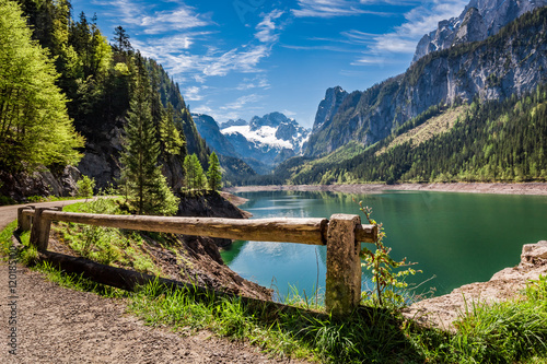Spoed Foto op Canvas Cappuccino Sunny sunrise at Gosausee lake in Gosau, Alps, Austria