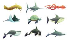 Fish And Marine Animals Cartoo...