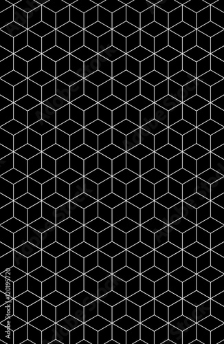 Fotografía Black & white abstract paterns. It's hexagon or cubic.