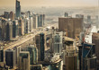 Scenic view of modern city architecture. Aerial skyline of Dubai Marina, UAE, with skyscrapers. Travel background.
