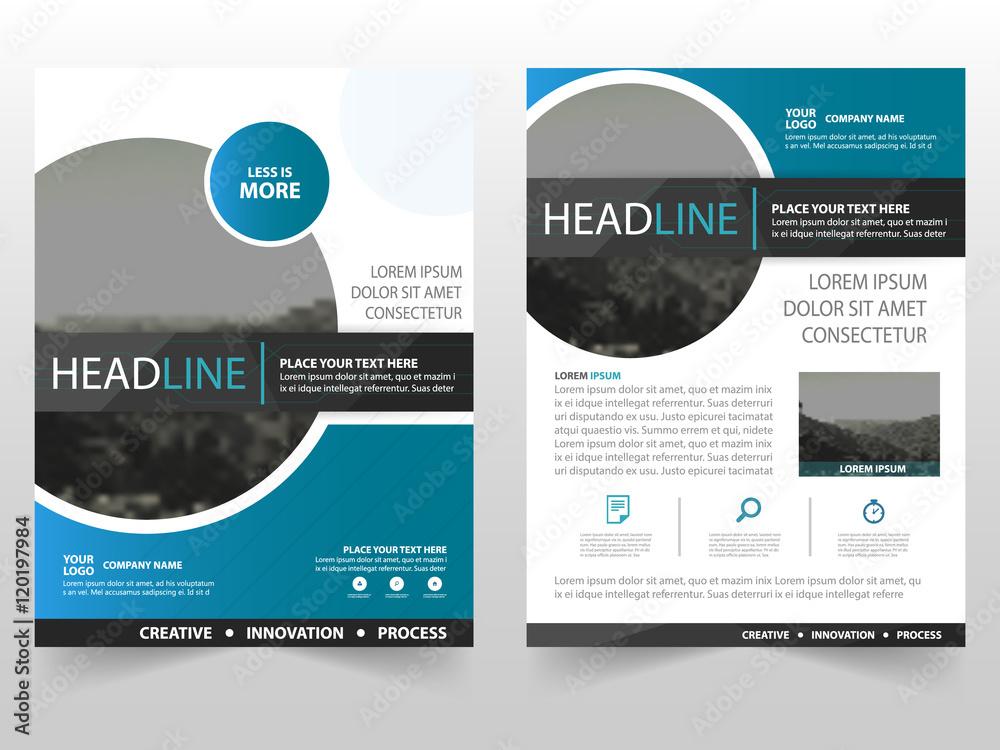 Fototapeta Blue circle Vector business proposal Leaflet Brochure Flyer template design, book cover layout design, abstract business presentation template, a4 size design
