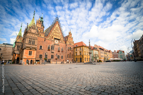 obraz dibond View of the historical marketplace in Wroclaw / Poland.
