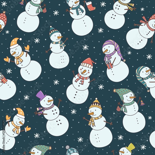 Cotton fabric Christmas seamless pattern with cute snowmen and falling snow