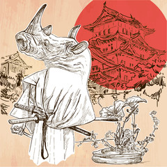 Japan. Samurai rhino. An hand drawn vector picture. Line art ill
