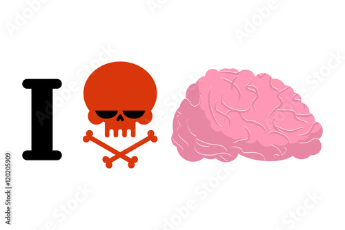 I Hate To Think Skull Symbol Of Hatred And Brain Logo For Bull