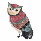 Watercolor funny kids illustration with owl - 120209953