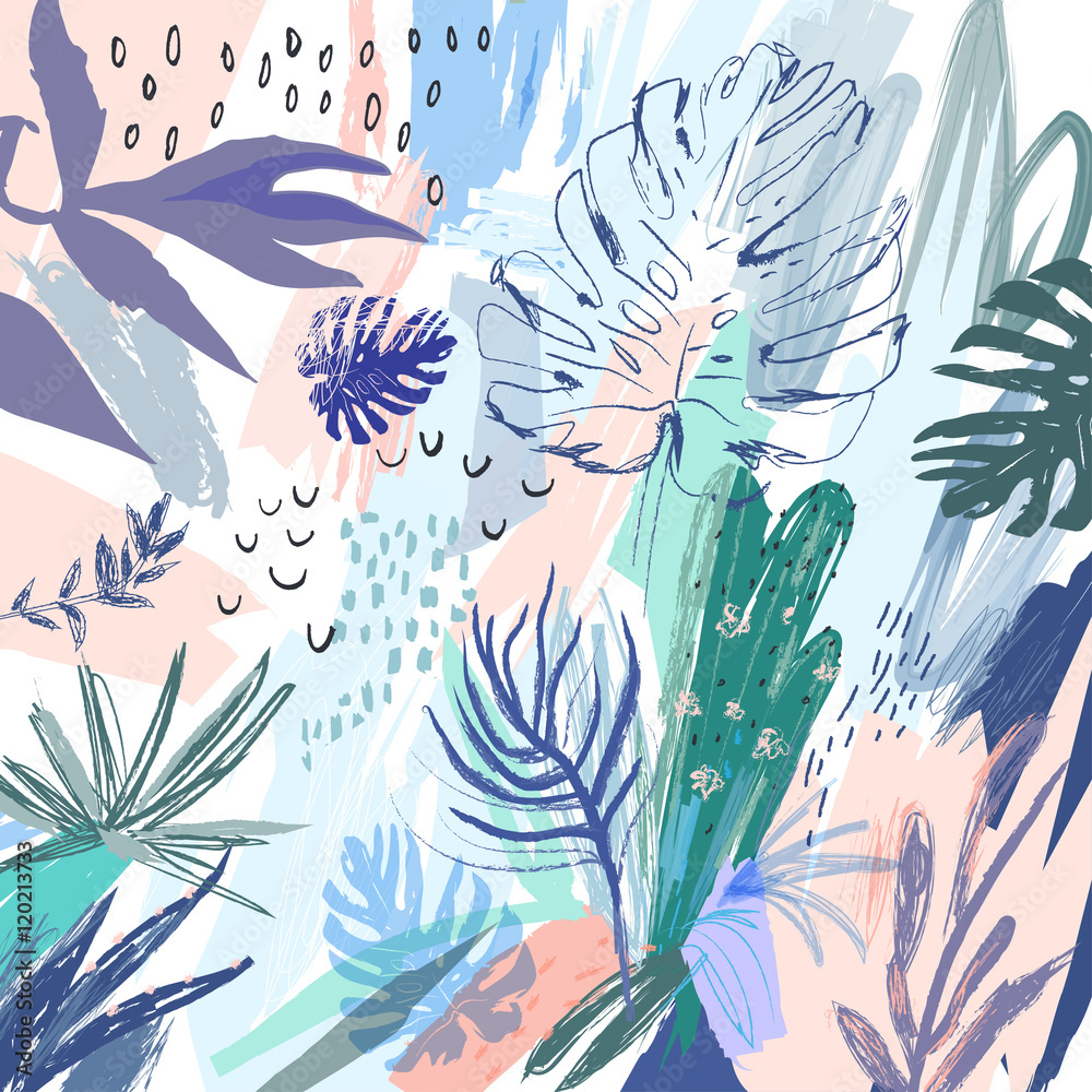 Fototapeta Creative universal floral background in tropical style. Vector