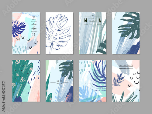 Photo  Set of creative universal floral cards in tropical style. Vector