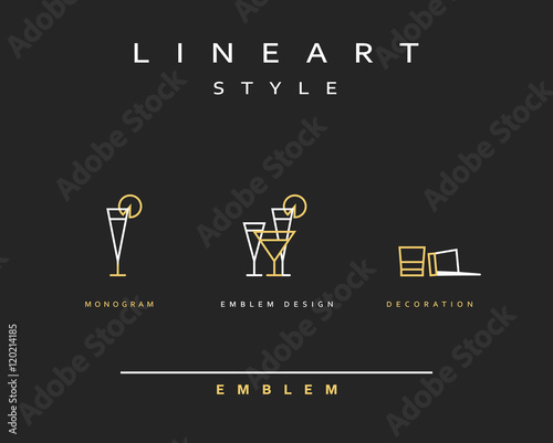 Fotografía  Cocktail wineglass vector icon style line art