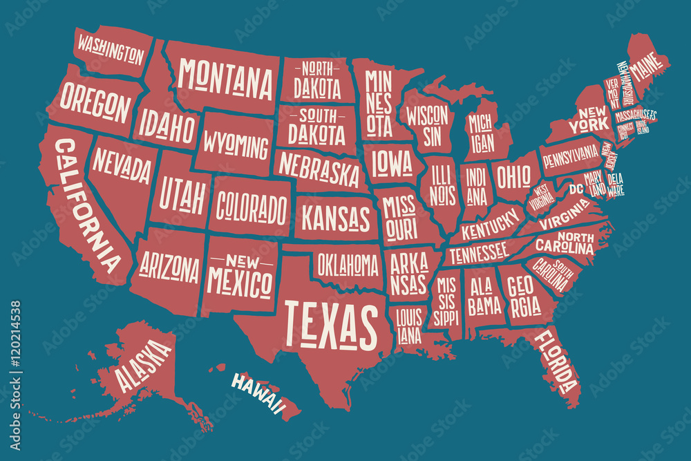 Poster map United States of America with state names Foto ...