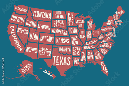 Fényképezés  Poster map United States of America with state names