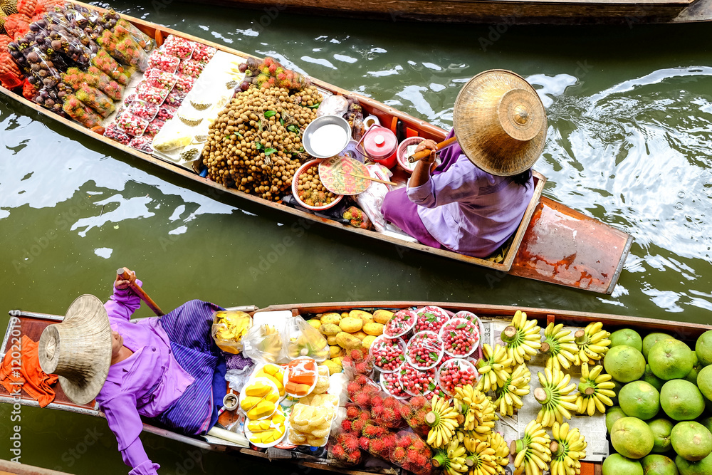 Fototapety, obrazy: Damnoen Saduak floating market, The famous attractions of Ratchaburi. Launched to the world as the source. The first tour since 2510.