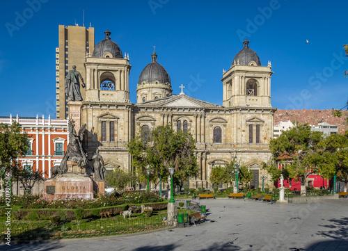 Spoed Foto op Canvas Theater Plaza Murillo and Metropolitan Cathedral - La Paz, Bolivia