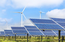 Solar Photovoltaics  Panel And Wind Turbines Generating Electricity Green Energy Renewable