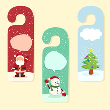 Christmas Theme Door Hanger Greeting Card With Santa Claus, Snowman, And Christmas Tree Vector.