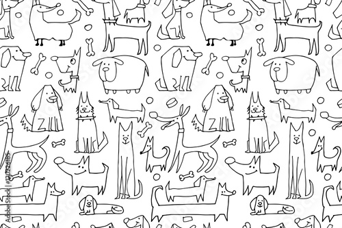 fototapeta na lodówkę Funny dogs collection, seamless pattern for your design