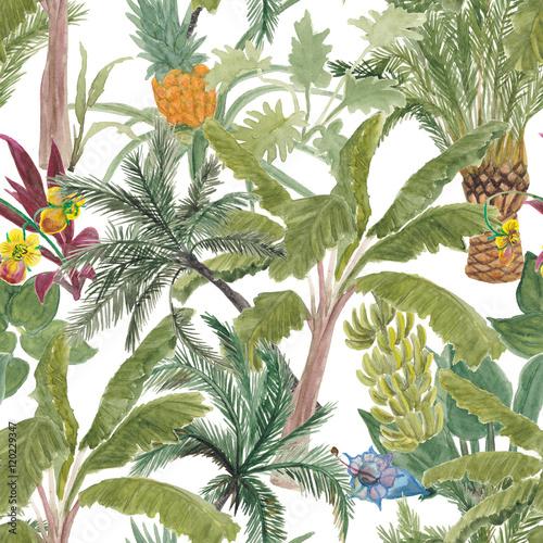 akwarela-malarstwo-wzor-tropikalny-palmy-banany-ananasy-tropikalny-ogrod