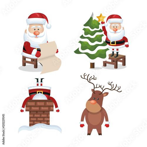 Fototapety, obrazy: set santa claus reindeer design vector illustration eps 10