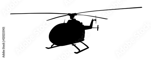 Cuadros en Lienzo Helicopter isolated vector silhouette. Air transport symbol