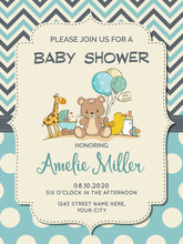 Beautiful Baby Boy Shower Card With Toys