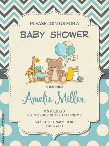 Beautiful baby boy shower card with toys © Claudia Balasoiu
