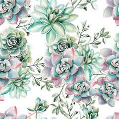 Panel Szklany Egzotyczne Water color pattern with succulents . Illustration