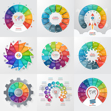 Set Of 9 Circle Infographic Te...
