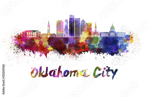 Foto op Canvas Barcelona Oklahoma City V2 skyline in watercolor