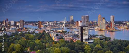 Photo Stands Rotterdam Rotterdam Panorama. Panoramic image of Rotterdam, Netherlands during twilight blue hour.