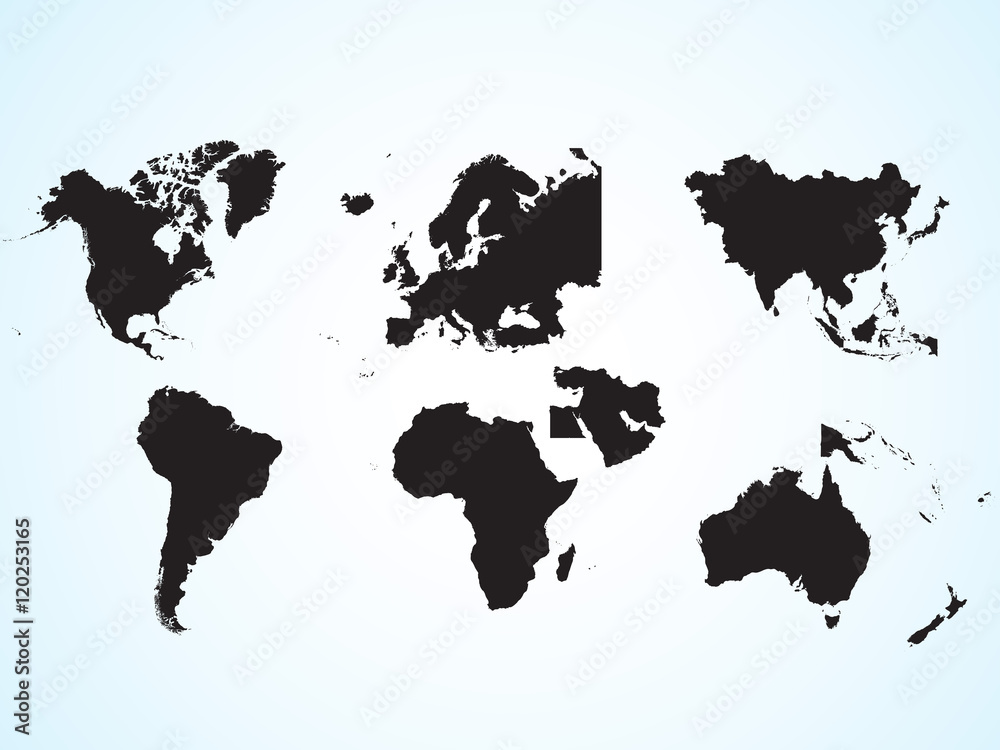 Fototapety, obrazy: The continents of the planet earth. Asia, Europe, Australia, Middle East, Africa, North America, South America. Silhouette of the continent. Geographical location. Education.