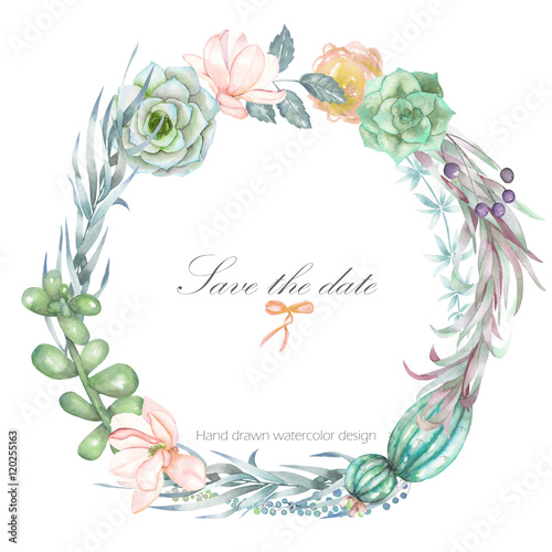 A circle frame, wreath, frame border for a text with the watercolor ...