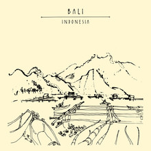 Volcano Lake Batur, Floating Garden And Fishing Boats Near Kintamani, Bali Province, Indonesia, Southeast Asia. Hand Drawing. Travel Sketch. Book Illustration, Postcard Or Poster