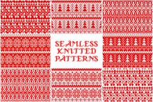 Set Knitted Christmas Pattern.