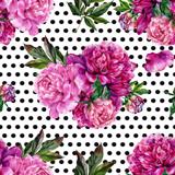 Hand drawn pink peonies bouquet seamless pattern - 120266533