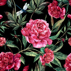 Panel Szklany Do salonu Hand drawn pink peonies bouquet seamless pattern