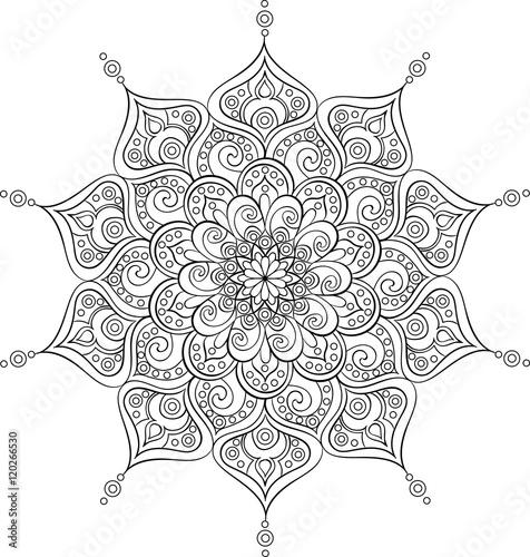 Photo  Vector ornate mandala illustration for coloring book