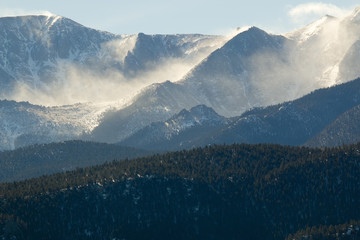Fototapeta Industrialny Blowing Snow on Pikes Peak Colorado