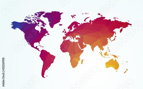 Stampa su Tela  world map color geometric shape texture