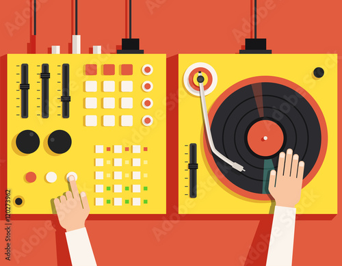 Turntable with dj hands. Vector flat illustration Fototapet