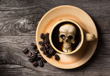 Still Life Photography : Human Skull Soak In Coffee Cup In Harmful Effect From Caffeine Concept