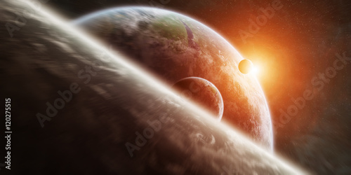 Fototapety, obrazy: Sunrise over distant planet system in space 3D rendering element