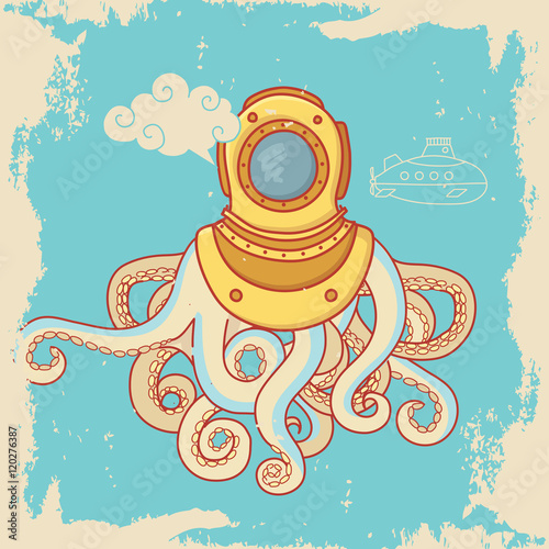 Greeting card with sea monster in diving helmet Poster