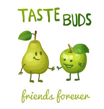 """Green Apple And Pear With Leaf Characters.  Cartoon Vector Illustration. Cute Print """"Taste Buds"""""""