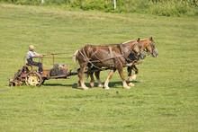 Amish Farmer Working Fields Lancaster County Pennsylvania