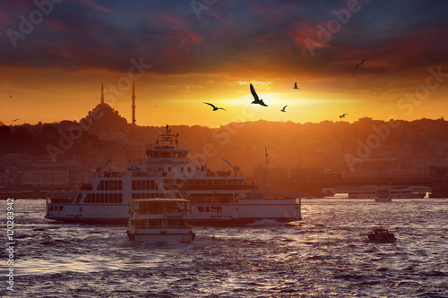 Dramatic sunset over evening Istanbul, Turkey Poster