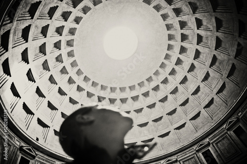 A man gazes at the oculus of the Pantheon, Rome, Italy Poster