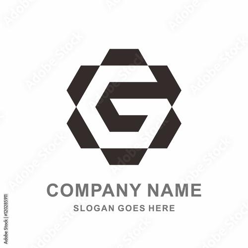 Monogram Letter G Geometric Hexagon Negative Space Vector Logo Design Template