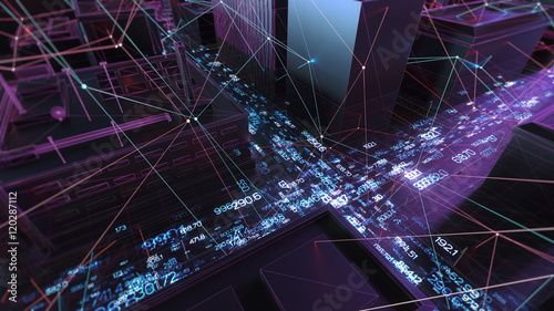 Abstract 3d city rendering with lines and digital elements. Skyscrappers with wireframe texture and random digits. Technology and connection concept. Perspective architecture background. - 120287112