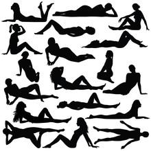 Silhouette Of Beautiful Woman In Bikini Sitting And Laying.