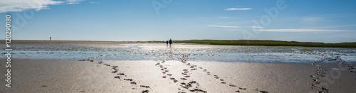 Spoed Foto op Canvas Noordzee Panorama Fußspuren im Watt,Nordsee